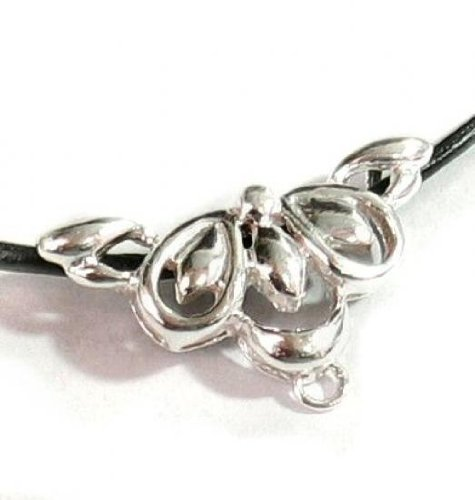 1 pc .925 Sterling Silver Bail Flower Focal Bead Slider Pendant Connector/Findings/Bright