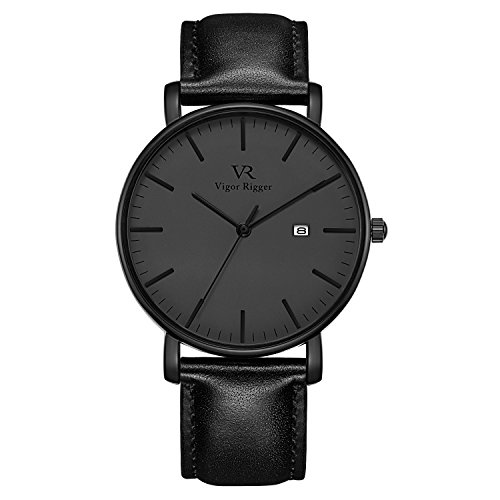 Vigor Rigger Men's Quartz Watches with Genuine Black Leather Watch Band, Minimalist Analog Date Display Wrist Watch, 30M Waterproof Watch with Metal case-4.