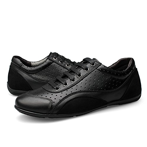 Gome-z Sneakers Casual Shoes 2018 Leather Men Shoes Luxury Trendy Shoes for Men Flats Black Shoes Holes 5.5