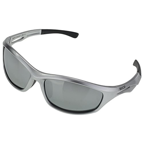 DUCO Polarized Sports Sunglasses for Running Cycling Fishing Golf TR90 Unbreakable Frame 6199 Silver Frame Mirror - Nose Sunglasses For Bridge Men Wide