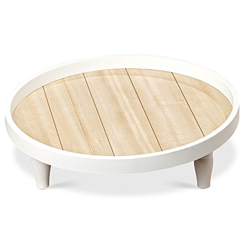 Whole House Worlds The Cape Cod Raised Tray, White and Pale Wood Tones, Natural Wood and MDF Shiplap, 15 3/4 Inches Diameter, By by Whole House Worlds