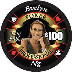 Evelyn Ng Poker Professional $100 Full Ceramic Poker Chip - Hot Collector's Item!! Professional Full Clay Casino