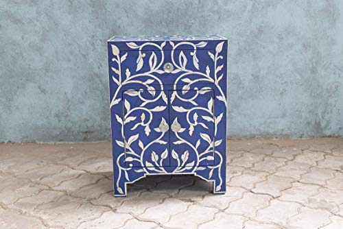 Mother Of Pearl Inlay 1 Drawer 2 Door Lily Design Bedside Dark -