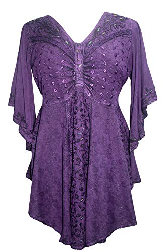 186026 B Butterfly Embroidered Beaded Bell Sleeve Top Blouse (Small, Purple) ()