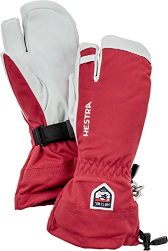 Hestra Army Leather Heli Ski 3-Finger Gloves with Gauntlet,Red,8