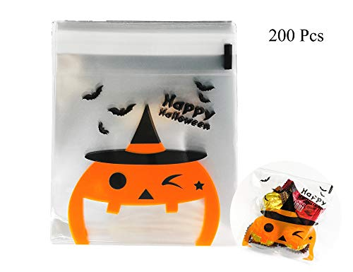 Lauren 200 Pcs Clear Halloween Happy Pumpkin Candy Bags Plastic Cookie Packaging Self-adhesive Bags for Chocolate Treat Gift DIY 10 ×10 CM(4