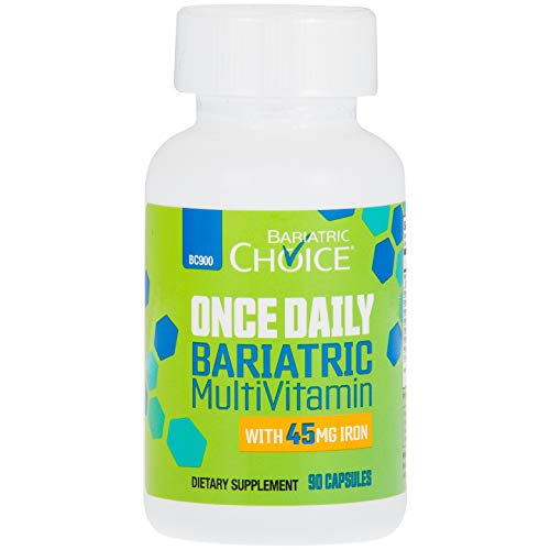 Bariatric Choice ONCE DAILY Bariatric Multivitamin Capsule with 45 mg of Iron 90 Count , Bariatric Vitamin Supplement for Post Bariatric Surgery Gastric Bypass Patients