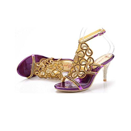 la a punta metallo di purple Tacco fibbia Sandali spillo bordino Berretto QPYC traforo in a donna strass profondo con poco Tacchi a paillettes tacco da dopo con con alti Tacco wwqP61pn