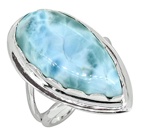 YoTreasure Pear Shape Larimar Ring Solid 925 Sterling Silver Jewelry