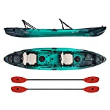 Vibe Kayaks Yellowfin 130T | 13 Foot | Tandem Angler and Recreational Two Person Sit On Top Fishing Kayak with 2 Paddles and 2 Hero Comfort Seats (Caribbean Blue - Tsunami Red Evolve Paddle)