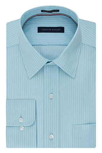 Non Iron Shirt - Tommy Hilfiger Men's Non Iron Regular Fit Banker Stripe Point Collar Dress Shirt, Aquamarine, 17.5