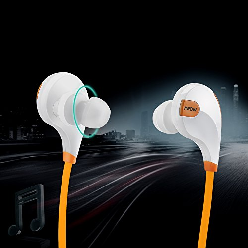 Mpow Swift Bluetooth 4.0 Wireless Sport Headphones Sweatproof Running Gym Exercise Bluetooth Stereo Earbuds Earphones Car Hands-free Calling Headsets with Microphone and High-fidelity Stereo Sound via apt-X for iPhone 6 6 plus 5S 4S Galaxy S6 S5 and iOS android Smartphones (Orange)