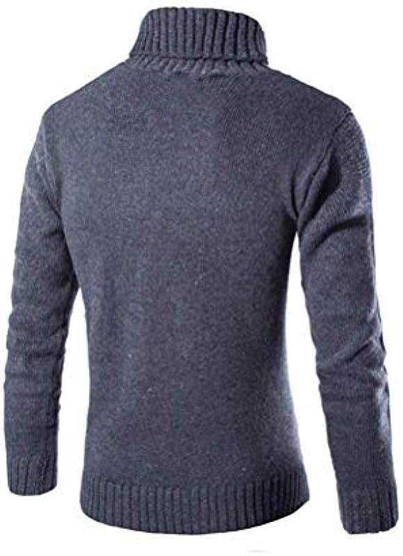 Lannister Fashion męski zwijany kołnierz sweter coole ciepła bluza gruba jesień odzież zima długi rękaw sweter dziergany sweter męski: Odzież