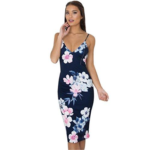 Vestido Para Mujer, Ouneed Moda mujeres sin mangas backless floral impresa vestido largo delgado Azul