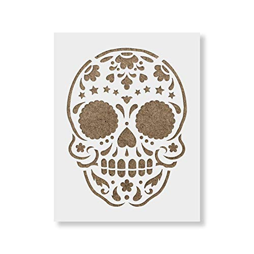 Sugar Skull Starry Stencil Template for Walls and Crafts - Reusable Stencils for Painting in Small & Large Sizes]()