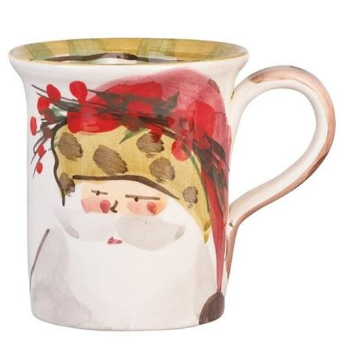 Vietri Old St. Nick Mug, Santa In A Red Hat, Handcrafted Italian Stoneware