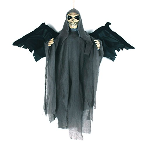 Halloween Decoration Hanging Skeleton Ghost With Glowing Red LED Eyes & Horrible Voice & Flap Wings, Touch & Sound Control Electric Props 20''*23''