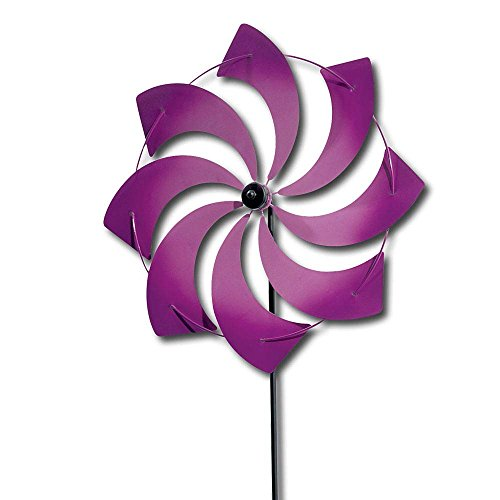"Bits and Pieces - Pinwheel - Wind Spinner - Two-tone Airbrushed Metal with Enamel Finish - 42"" High 11-7/8"" in Diameter - Purple"