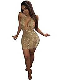 Women's Sexy Halter Sequin See Through Bodycon Party Mini Dress Clubwear