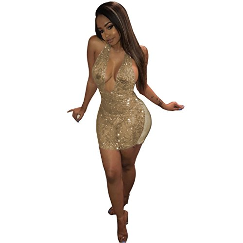 Acelyn Women's Sexy Halter Sequin See Through Bodycon Party Mini Dress Clubwear X-Large Gold