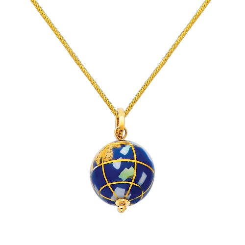 """14k Yellow Gold Earth Globe Enamel Charm Pendant with 0.9mm Braided Wheat Chain Necklace - 22"""""""