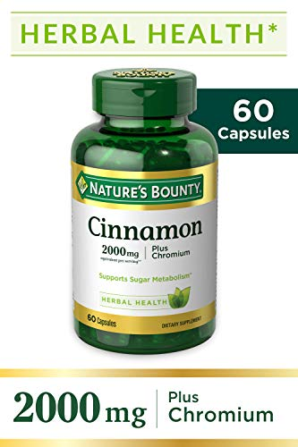 Cinnamon by Nature's Bounty, Herbal Supplement, Supports Sugar Metabolism, 2000mg Cinnamon Plus Chromium, 60 Capsules