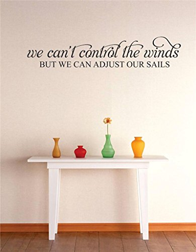 We Can't Control The Winds But We Can Control Our Sails Image Quote Vinyl Wall Decal Sticker Color : Black Size : 20X40