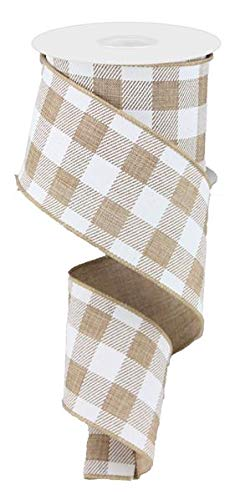 Plaid Check Wired Edge Ribbon - 10 Yards (Light Tan, White, 2.5