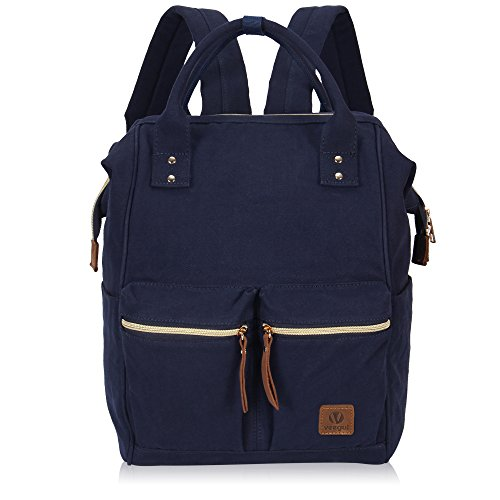 Veegul Stylish Doctor Style Multipurpose Canvas School Travel Backpack for Men Women Dual Pockets Navy Blue VGD