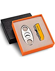 CIGARLOONG Cigar Cutter and Lighter Set Double Blade Guillotine and Jet Flames Refillable Lighter with Gift Box(Yellow)