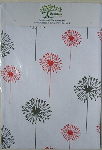 Set Patterned Placemats Decorator Dandelion