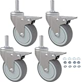 Caster Wheels, 3 Inch Rubber Casters, Set of