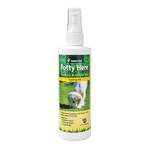 BombDealsStore NaturVet Potty Here Training Aid Spray for Puppies and Dogs Pee Pads with Quiet Spot, Liquid, Made in - Spray Here Go