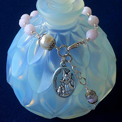 Guardian Angel Bracelet, Archangel Michael, Alabaster Pink Czech Glass Beads & Swarovski Crystal Based Pearl
