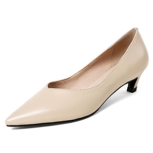 Nine Seven Genuine Leather Womens Pointed Toe Chunky Heel Work Handmade Basic Business Pumps Shoes Apricot