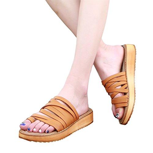 Color Para Piel Smilun Mujer 3 2 Marrón De Casa Zapatillas Estar 36 Wsfh009 Talla Por WxzzwYR0q