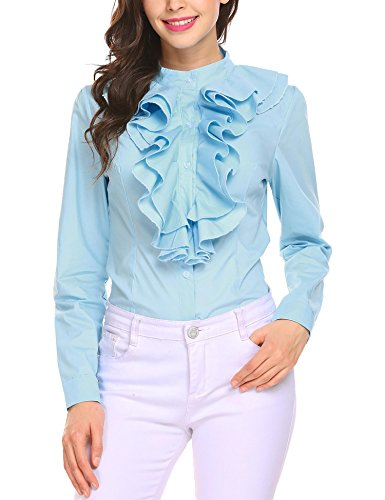 Hersife Women Lolita Lace Stand-Up Collar Lotus Ruffle Shirt Retro Victorian Blouse Light Blue XL (Light Lace Jacket Blue)