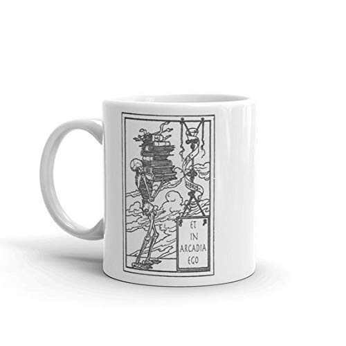 Skeleton Mug with Latin Quote et in Arcadia ego, Coffe Cup Black and White 11 fl oz Bookplate Design, Skeleton With Books