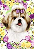 "Cheap Shih Tzu Tan by Tamara Burnett Easter Flowers Garden Dog Breed Flag 12"" x 18″"