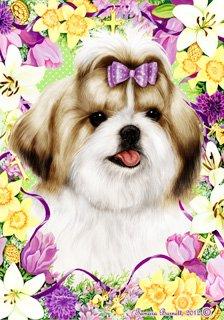 Shih Tzu Tan by Tamara Burnett Easter Flowers Garden Dog Breed Flag 12'' x 18