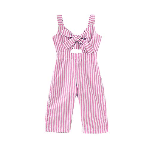 Rvbelbay Toddler Kids Baby Girl Clothes Pink Striped Jumpsuit Sleeveless Summer Romper Cotton Overalls Strap Pant Jumpsuit Outfits