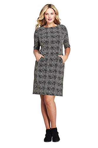 (Lands' End Women's Plus Size Ponte Knit Sheath Tweed Dress with Elbow Sleeves, 26W, Black/Tan Texture)