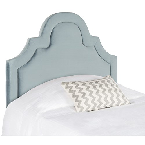 Safavieh Kerstin Wedgwood Blue Cotton Upholstered Arched Headboard - Twin Beds Mart Wal