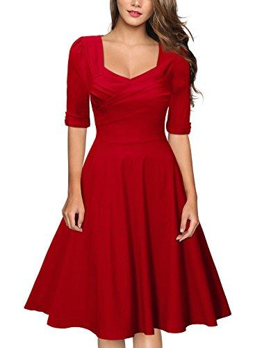 Miusol Women's Retro V-Neck Half Sleeve Bridesmaid Party Swing Dress,Red,X-Large