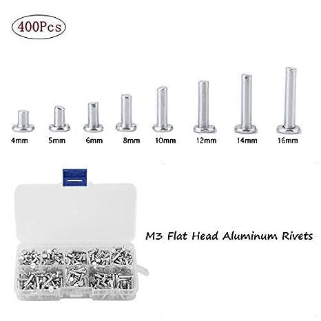 M4*25 100pcs GB867 M4 Remaches de aluminio de cabeza plana Remache s/ólido de cabeza plana Remache s/ólido