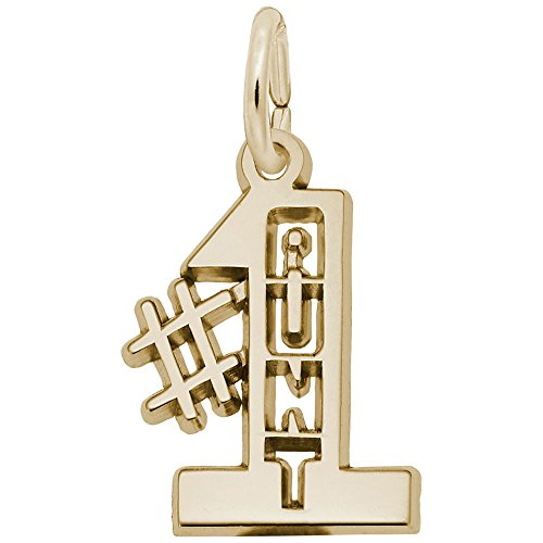 #1 Aunt Charm In 14k Yellow Gold, Charms for Bracelets and Necklaces (Aunt 1 Charm)