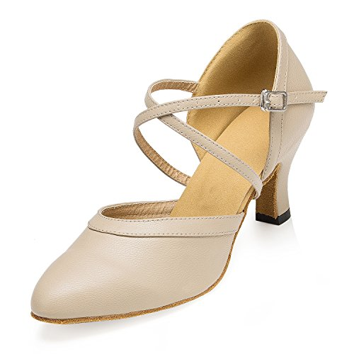 Leather Dance Shoes Tango Latin Wrap Jazz Ankle Shoes Salsa TDA Beige Women's tqXwgvna