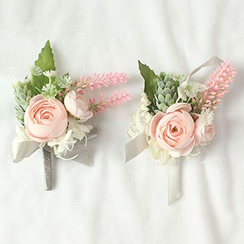 Lovgrace Boutonniere for Men Handmade Silk Flowers Girl Wedding Prom Embellishment Valentines Festival Party Decor 2 Sets