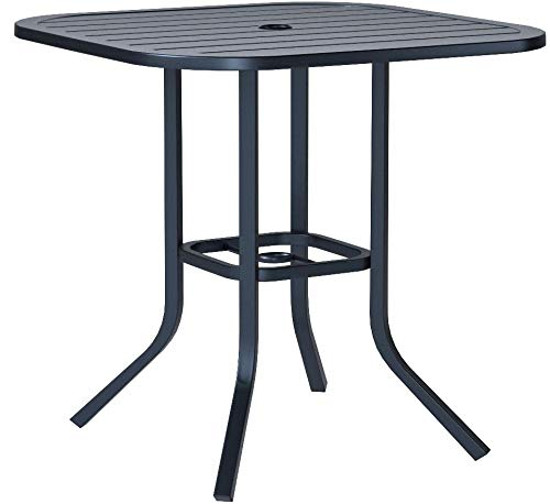 Heavy Duty Steel Frame 29.5 in x 29.5 in Square Bistro Patio Bar Restaurant Outdoor Dining Table with Umbrella Hole - Black