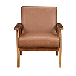 Pulaski DS-D030003-329 Wood Frame Faux Leather Accent Chair, 25.38″ x 28.0″ x 30.5″, Cognac Brown